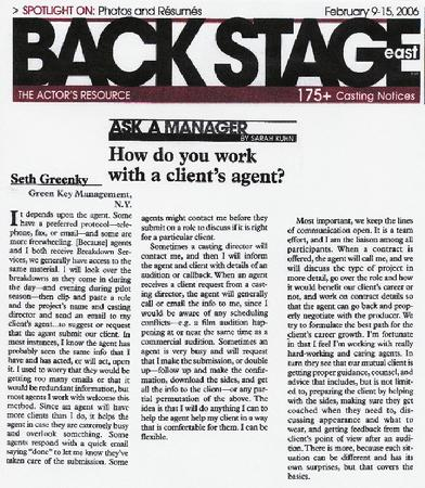 Seth Greenky, Green Key Management, Backstage, Ask A Manager